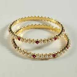 Stone Studded Golden Bangles