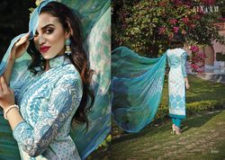 Designer Cotton Salwaar Kameez with Chiffon Dupatta