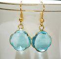 Blue Quartz Clover Shape Bezel Set Earrings