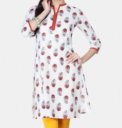 White Printed And Red Placket Kurti