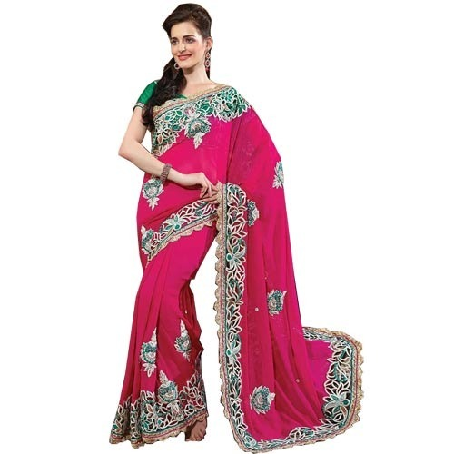 beautiful designer pink saree mehar creations