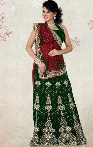 091ba5acfc Maroon and Bottle Green Color Net and Velvet Lehenga Saree - Saree ...