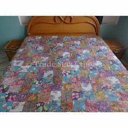 Printed Patchwork Kantha Bedspread