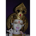 Gold Plated White Marble Lord Krishna Statue
