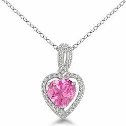 Pink Sapphire Diamond Pendant