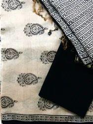 Beige And Black Chanderi Silk Cotton Suit