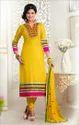 Elegant Yellow Cambric Cotton Churidar Suit