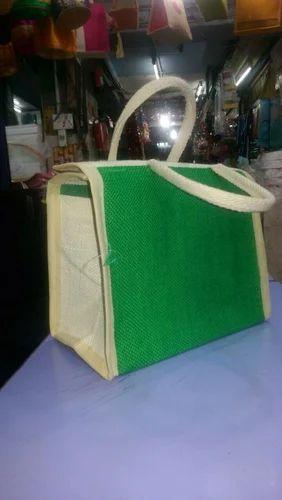 b4ff497b1 Lunch Box Model Green Color Jute Lunch Bag