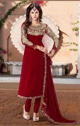 bridal salwar kameez beautiful brick red churidar kameez