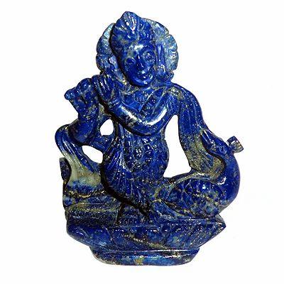 Lapis Gemstone Religious Hindu God Statue of Lord Krishna