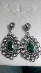 Vintage Style Polki Earring Ruthenium Silver