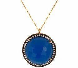Blue Chalcedony Pave Set Necklace
