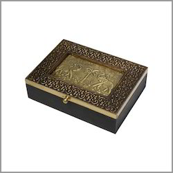 Brass Wood Box Elephants