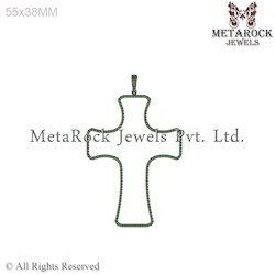 Chrome Diopside Crescent Cross Sign Pendants925 Sterling Silver Pendant