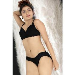 Black Hosiery Bra Set