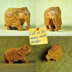 Brown Wooden Indian Carved Elephant - Amazing Wood Carving, For Home Decor, 1