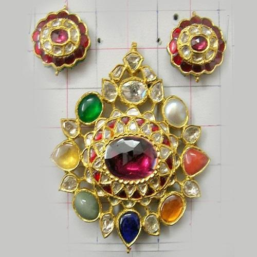 Fancy kundan meena pendant set view specifications details of fancy kundan meena pendant set aloadofball Images