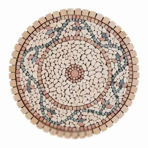 Round Multicolor Decorative Stone Table Top