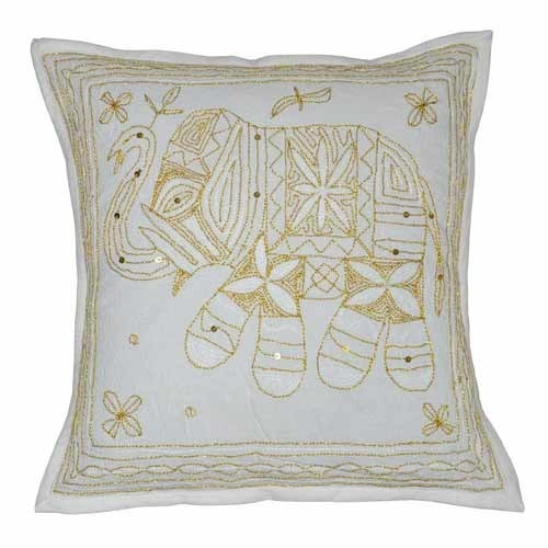 Zari Embroidery Designer Cushion Cover