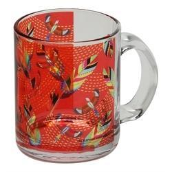 Tropical Birds And Feathers Glass Coffee Mug In Red