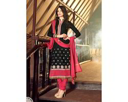 Designer Black Semi-stitched Anarkali Suit