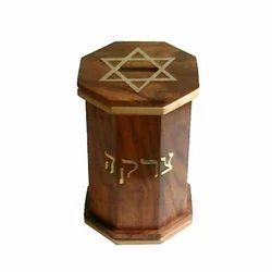 Elegant Wooden Tzedakah Box
