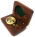Brass Nautical Locket & Push Button Compass With Wooden Box