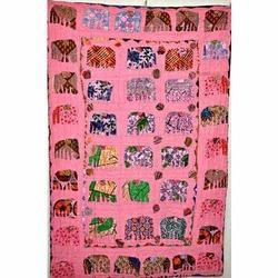 Elephant Patchwork Applique Kantha Quilt