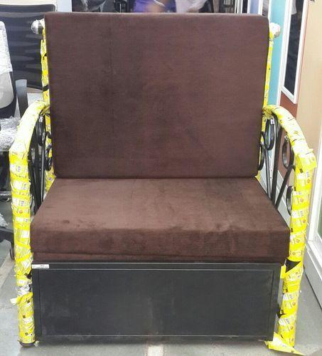 Brown Mild Steel Single Seater Sofa Bed