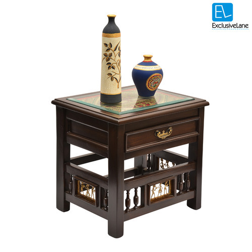 Exclusive Lane Teak Wood Bed Side Drawer Table With Dhokra