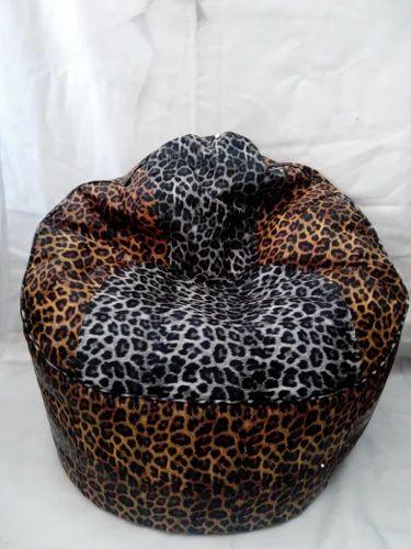Leopard Print Leather Bean Bag