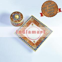 Marble Tray with Hand Painted and Kundan Work Container