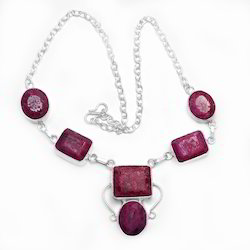 Latest  Ruby Gem Stone 925 Sterling Silver Plated Necklace