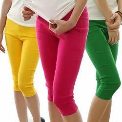 Plain Colour Skinny Capri Pants, Size: S & XL