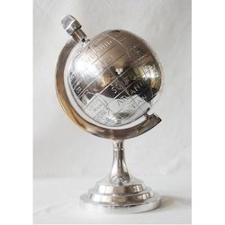 Silver Physical Map Aluminum World Globe, For Decoration