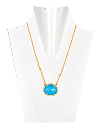 Turquoise Cz Set Gemstone Silver Necklace