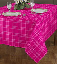 Pink Box Checked Table Cloth With Printed