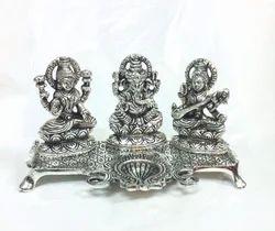 White Metal Silver Plated Laxmi Ganesh Swaraswati Deepak