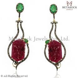 Gemstone Silver Carved Earring