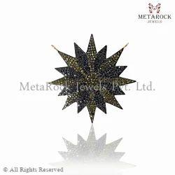Pave Diamond Starbrust Design Pendant