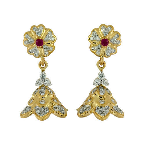 0861a55b7f8f 18KT Gold Diamond Jhumka - View Specifications   Details of Gold ...