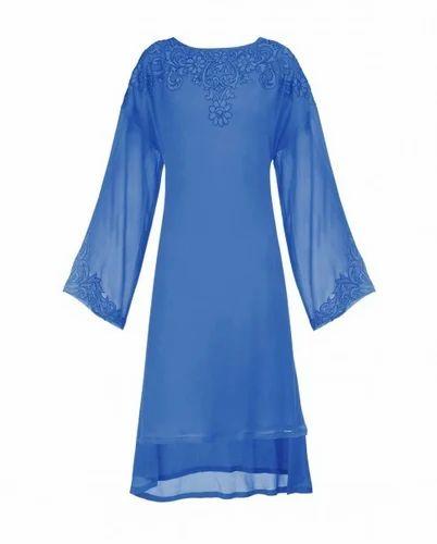 7c81b108811 Appliqued Cobalt Blue Tunic with Asymmetric Hem at Rs 9500 /piece ...