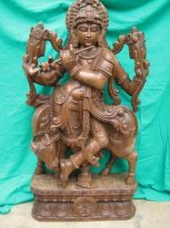 Lord Krishna Statue in Wood 36 Inches