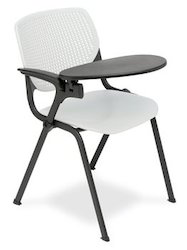 White Student Training Chair with Writing Pad