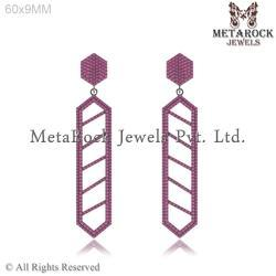 92.5 Sterling Silver Ruby Gemstone Hanging Earring