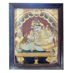 Butter Krishna Tanjore Painting (with Frame)