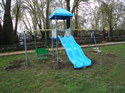 Playground Equipment Double Wave Slide and Swings Combo