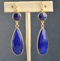 Dyed Blue Sapphire Long Bezel Set Gemstone Earring