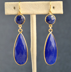 Dyed Blue Sapphire Long Bezel Set Gemstone Earring
