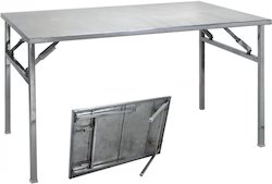 Silver Ss Steel Folding Table, For Hotel, Shape: Rectangular